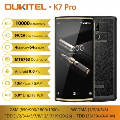"OUKITEL K7 Pro Smartphone Android 9.0 MT6763 Octa Core 4G RAM 64G ROM 6,0 ""FHD + 18: 9 10000mAh Empreinte digitale 9 V / 2A Handy"